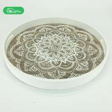 wholesale circle custom printed wooden serving round tray