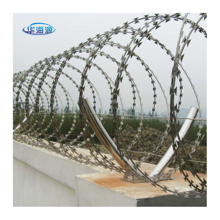 Security [ Wire Barb ] Barbed Security Wire Factory Security BTO-22 Galvanized Razor Blade Wire Concertina Razor Barb Wire