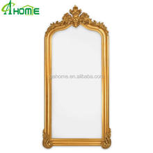 Baroque frame - Hanging Mirror Wooden Furniture - Gold Finish - Hand Carving Wall Mirror