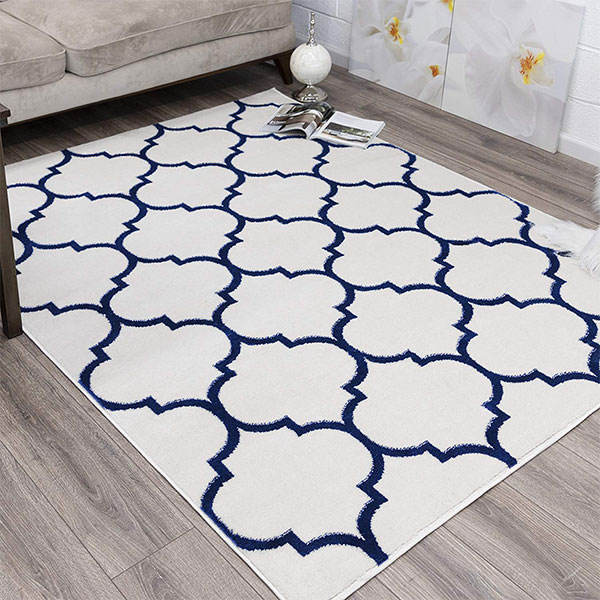Collection Contemporary Moroccan Trellis Design Polyester Lattice Area Rug