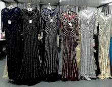 2018 Top Sale Black/Silver/Gold/Burgundy/Navy/Blue Long Sleeve Beaded Trumpet Evening Dresses Cheap Fashion Women's Dinner Dress