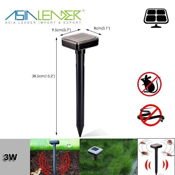 Outdoor Mouse Mole Repellent Waterproof Black Solar Rodent Ultrasonic Wave Pest Repeller