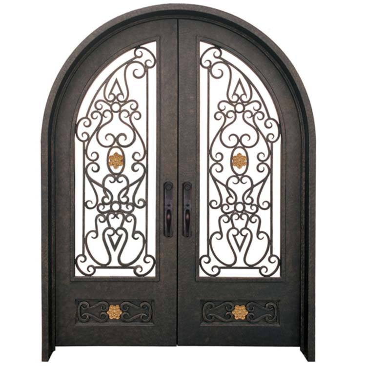 Luxury house front metal security door iron arch doors imported from china