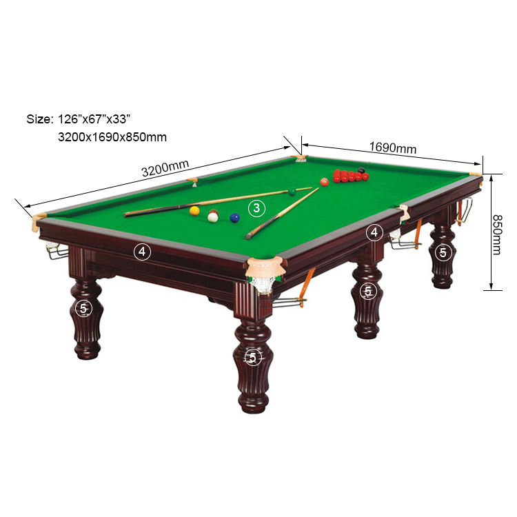 SZX Professional solid wood usa snooker pool table 10ft with slate for sale
