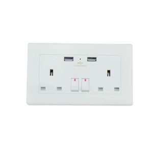 UK 2 Gang 2 Arah Double USB Power Switch Wall Outlet Socket dengan 2 Usb