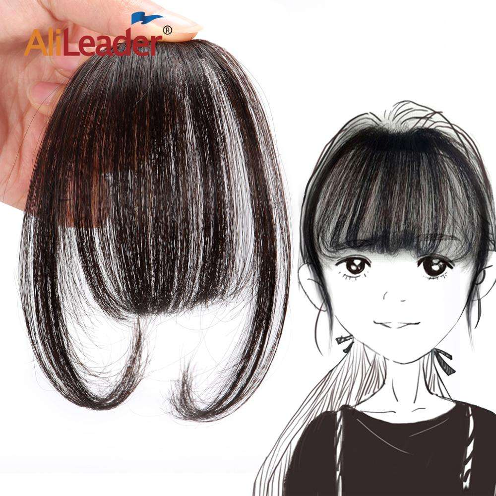 AliLeader Long Blunt Bangs hair Clip-In Extension Fringe 100% Real Natural False hairpiece For Women Clip In Bangs