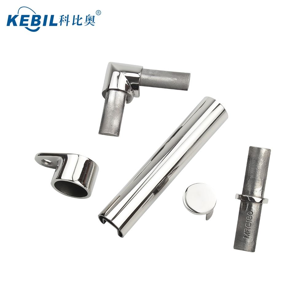 Satu Slot 25.4 Mm Kaca Balkon Balustrade Fittings Tabung Baja Bulat Konektor