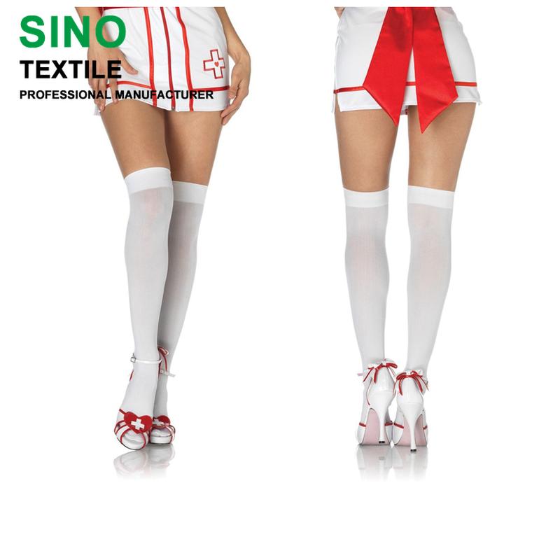 Halloween Nurse Skeleton Cross Socks Womens Over The Knee Fancy Long Stocking