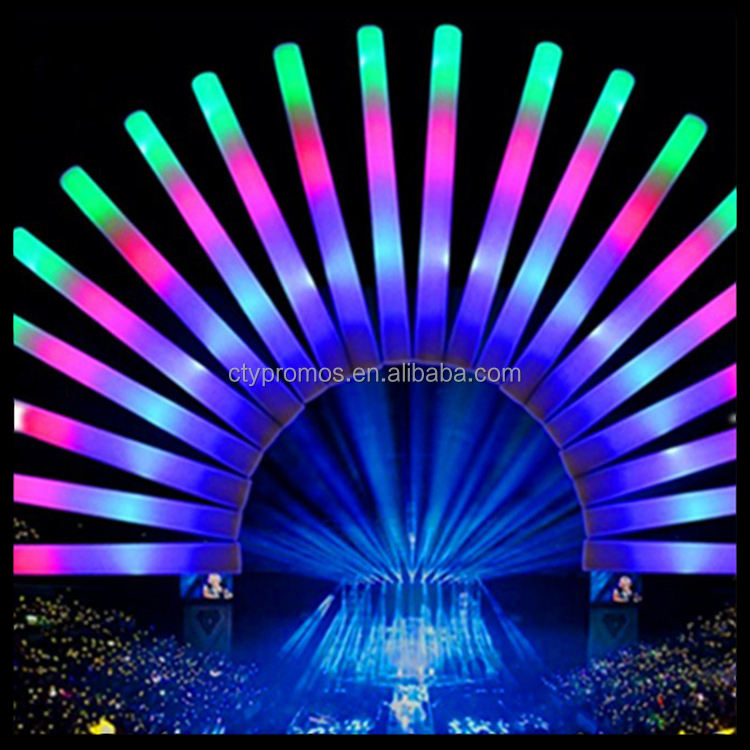 Promotional LED Glow Foam Stick, Light Up Foam Baton For Party Wedding and Concert