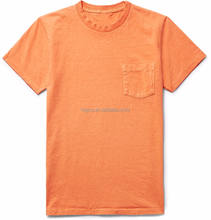 Orange Cotton Jersey T-Shirt Relaxed Fit Soft Feel Crew Neck Chest Patch Pocket 100% Cotton Custom Mens Tee