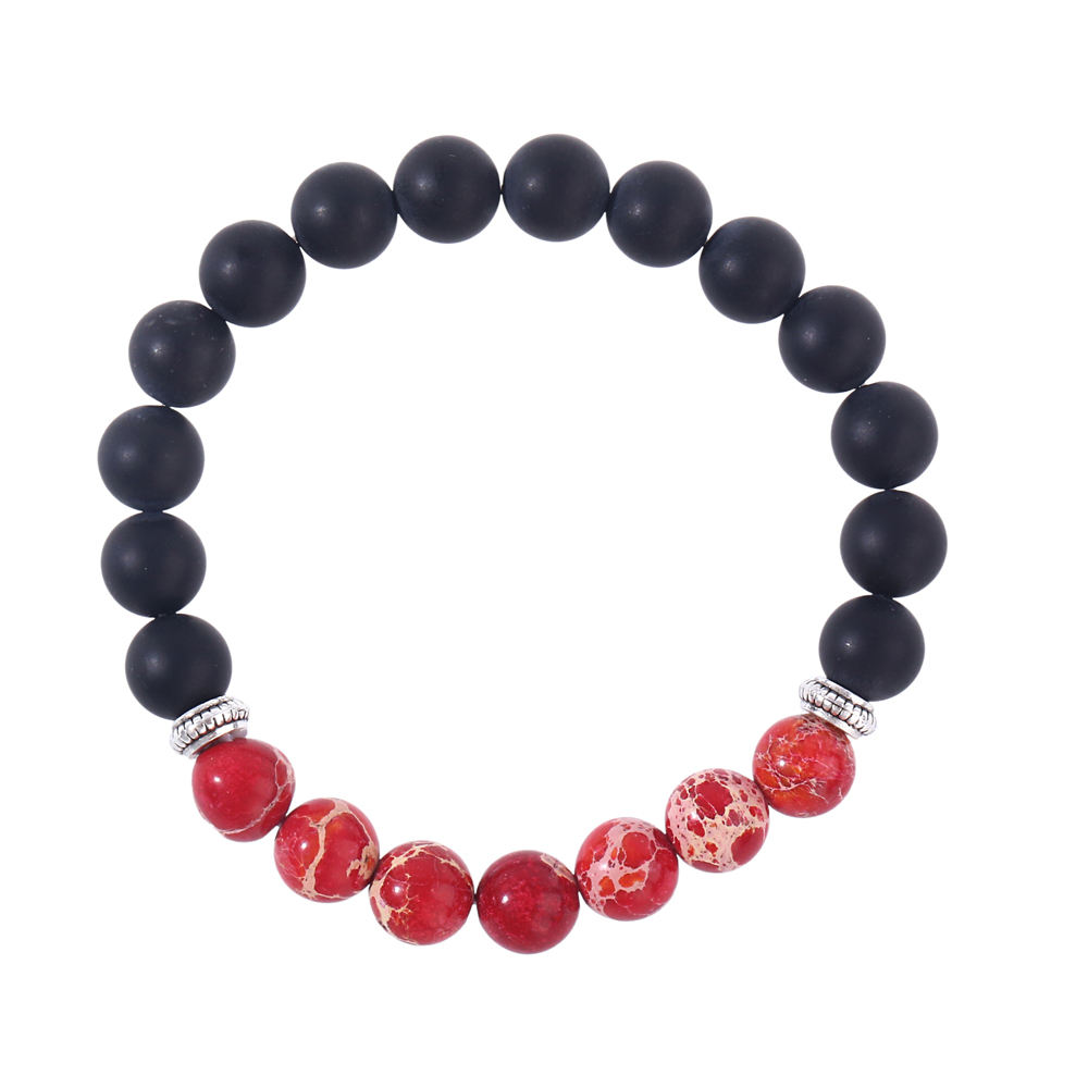 women jewelry 8mm natural stone charm bracelet perle frosted black agate balancing bracelet for men
