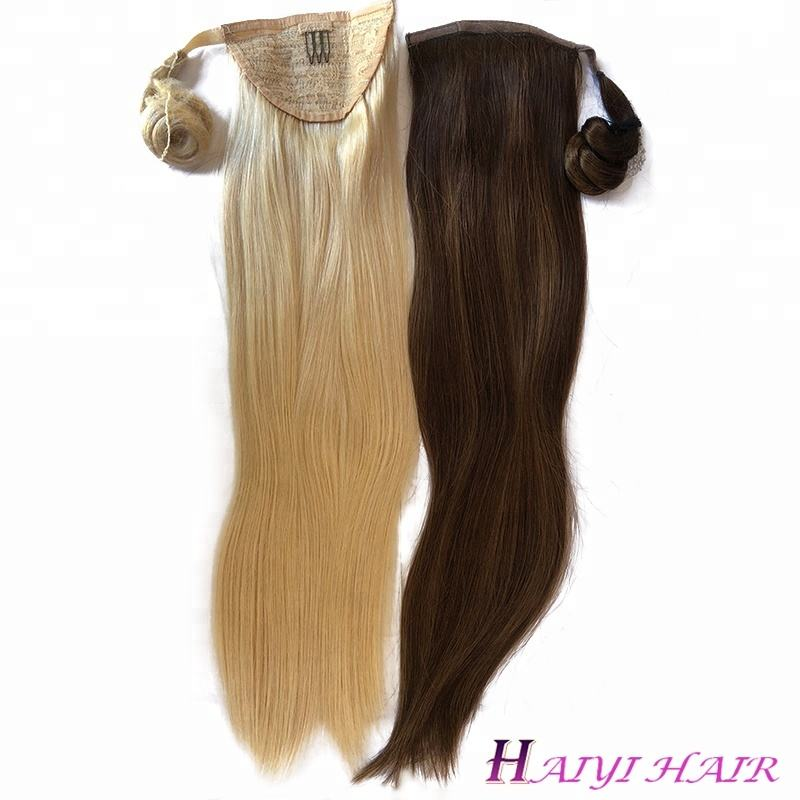 New Fashional Clip Ponytail Hairpieces White Women Human Hair Ponytail