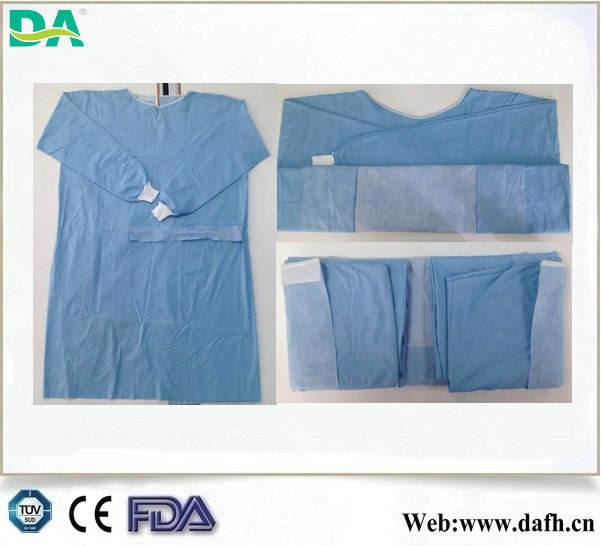 Dayanıklı kan/alkol/elektrostatik 3- Anti takviyeli spunlace cerrahi önlük