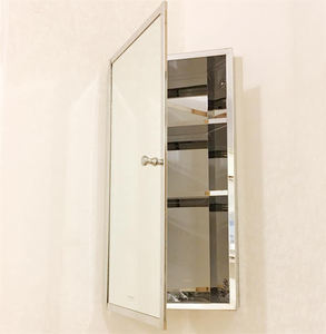 Modern Corner mirror cabinet with shelf glass door with stainless steel frame living room storage cabinet customize any size