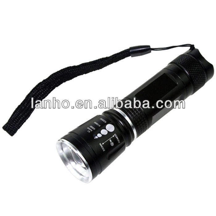 2014 Baru 300LM <span class=keywords><strong>Cree</strong></span> Q5 LED Diperbesar Fokus Zoom Adjustable Flashlight Sinar Terang Torch