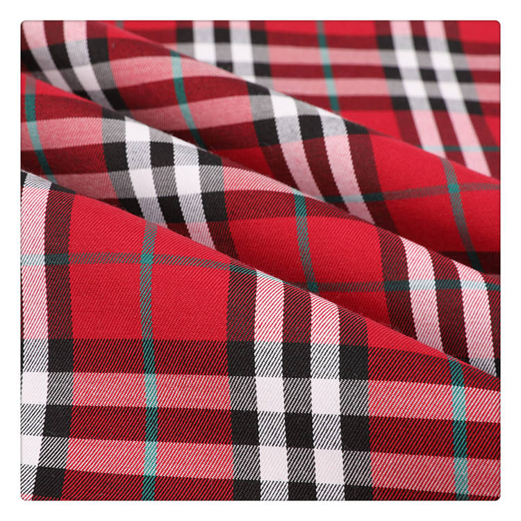 Factory direct china 100 cotton yarn dyed 21s plaid fabric