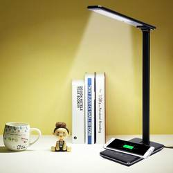 Huge Compatibility Qi Wireless Charger & USB Charger LED desk lamp with dimmable function and 4 lighting modes