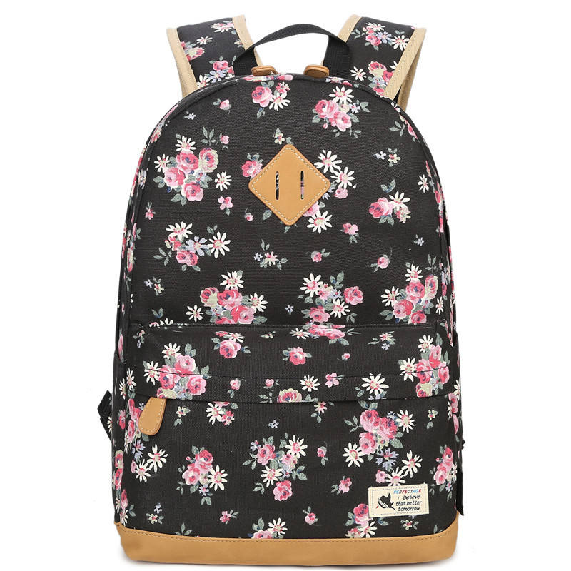 New Fashion Floral Backpacks For Teenager Girls Canvas Backpack Flower Pattern School Bags