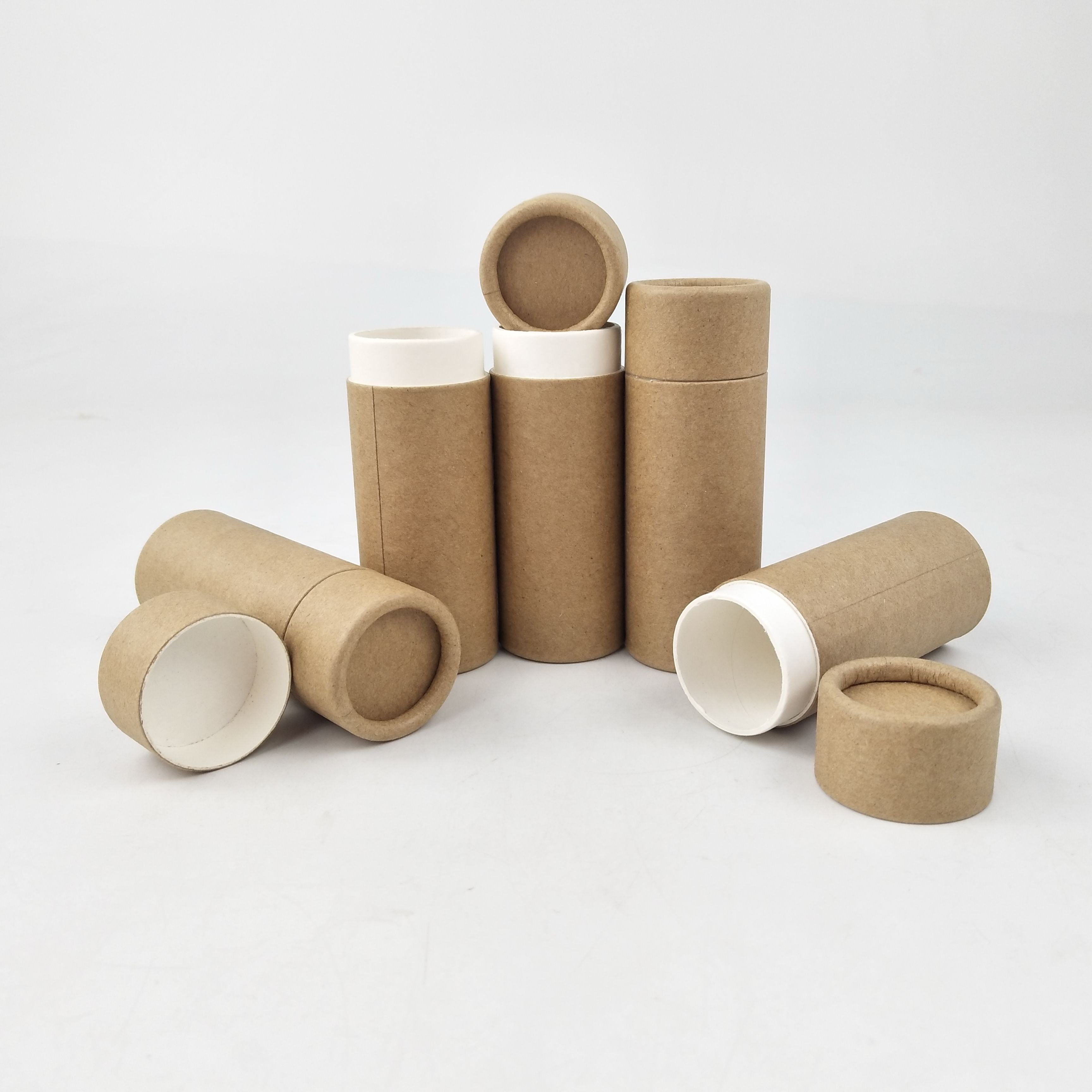 100% biodegradable packaging cardboard push up deodorant containers kraft lip balm paper tube