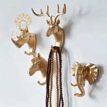 Wholesale small deer head polyresin animal statue for wall decor hanger