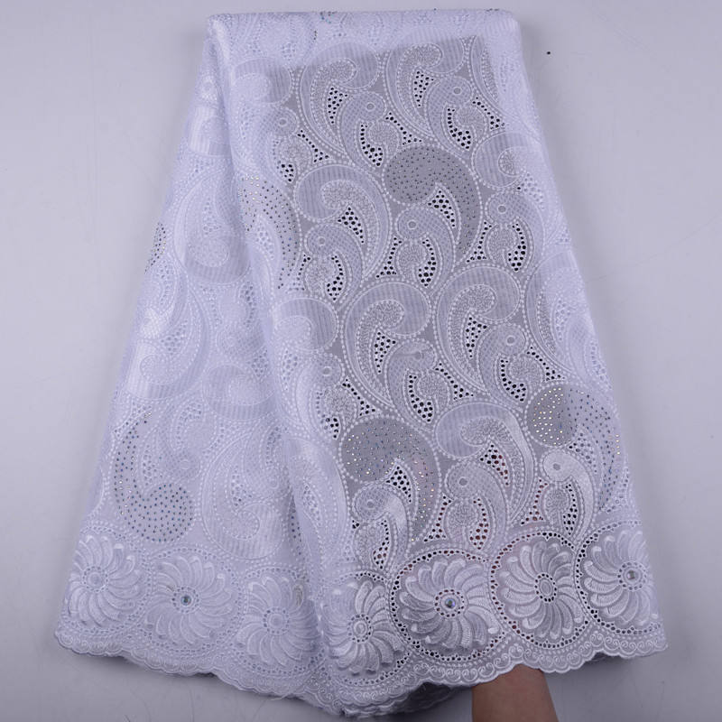 High Quality Swiss Voile Lace Switzerland Cotton White African Dry Cotton Lace Fabric 2019 Nigerian Voile Lace 5 Yards 1425