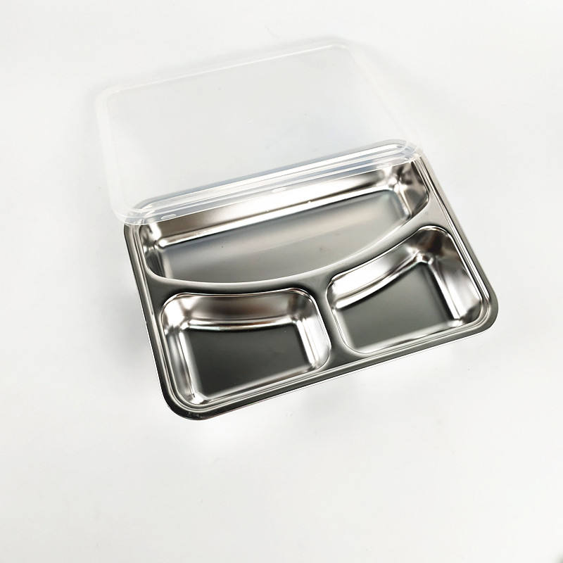 Metal Breakfast Tray Hot Sell Stainless Steel 3 Compartment Dinner Plate Thali