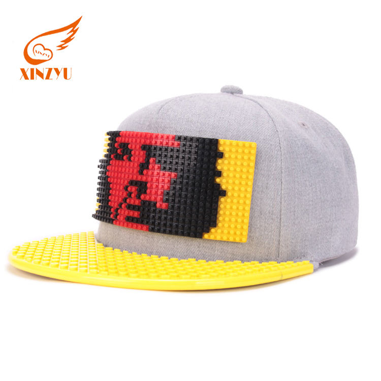 Customized Logo DIY Building Blocks Children/Kids Snapback Caps