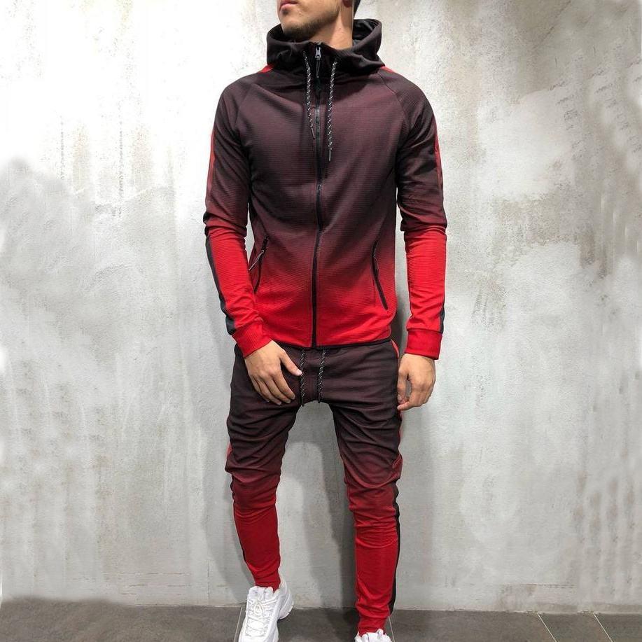 Factory Top Selling Zipper Through Low MOQ Mens Hooded Tracksuit