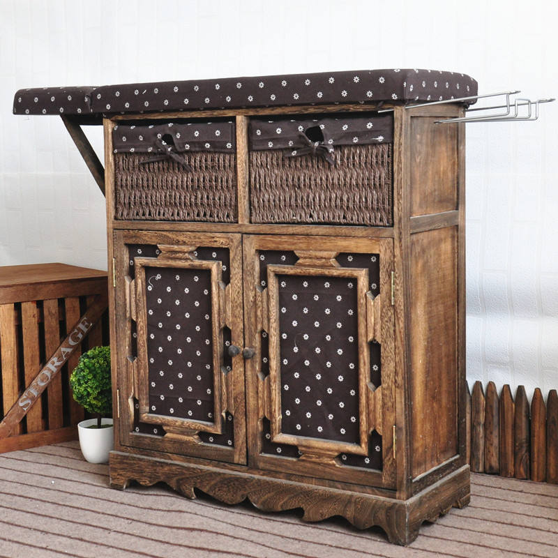 Home accessories wooden ironing board cabinet antique style