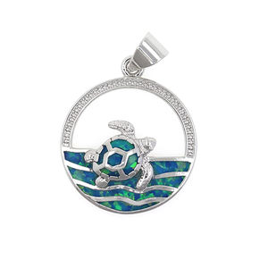Einfache Design modeschmuck Sterling Silber Erstellt Opal Schwimmen Schildkröte in den Ozean Wellen Kreis Anhänger