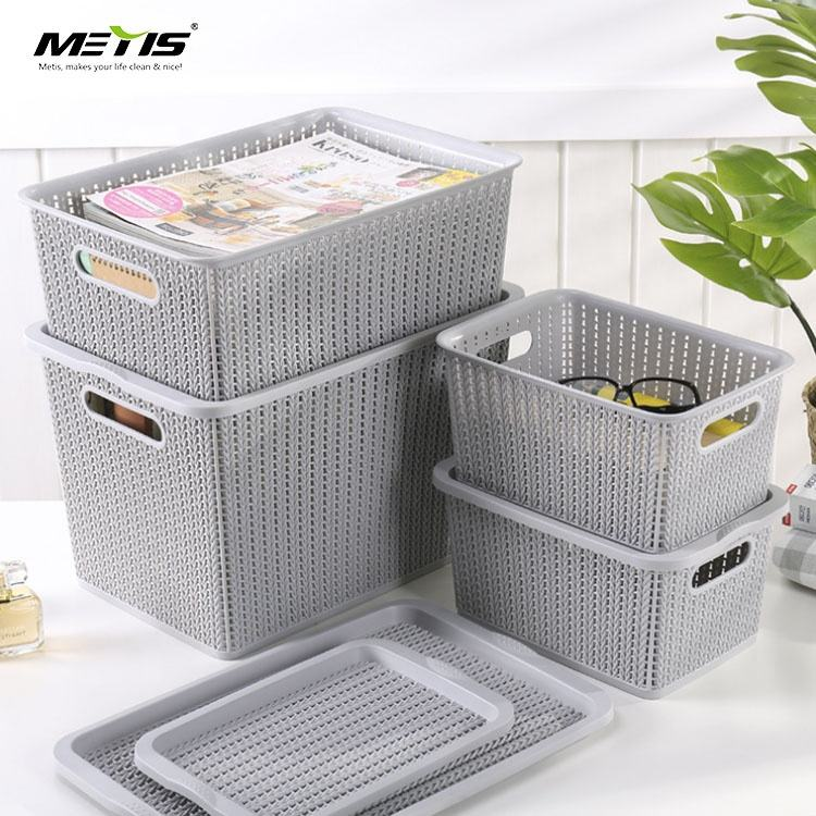Rattan Plastic Storage Baskets Bins Organizer with Handles