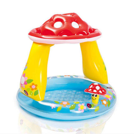 Intex 57114 Inflatable Mushroom Baby Pool with Built-in Sunshade