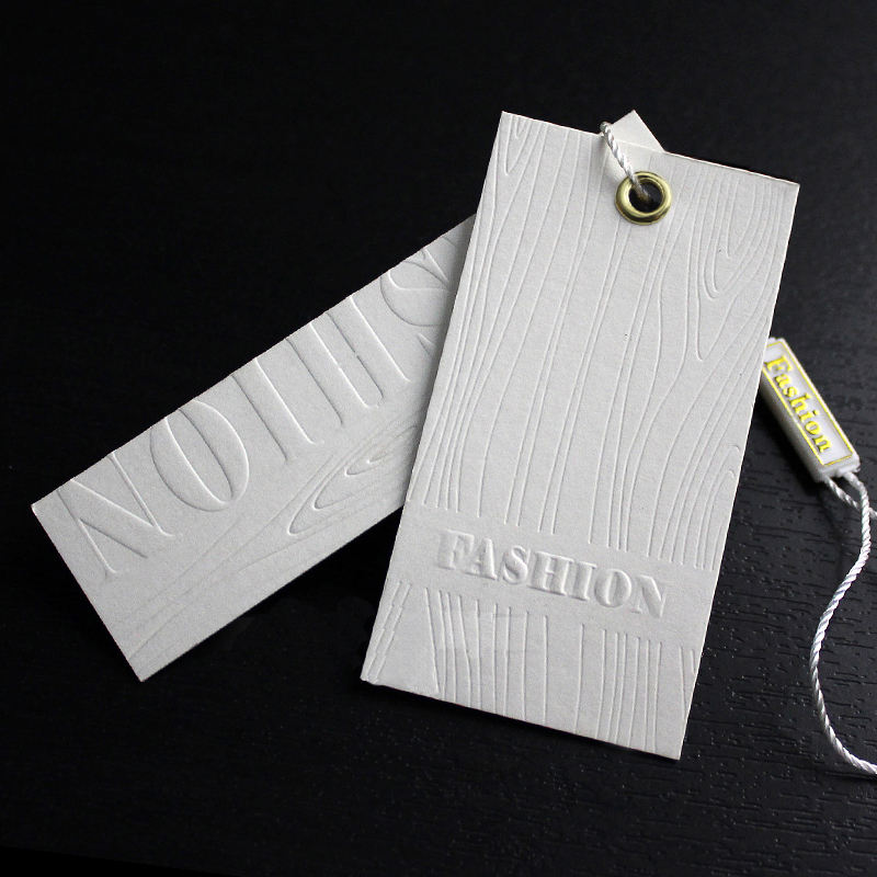 white card paper emboss logo garment 3D hang tag with swing string