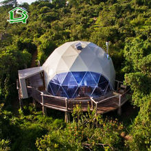 Outdoor luxury 8m Diameter waterproof canopy safari glamping resort round hotel geodesic dome tent