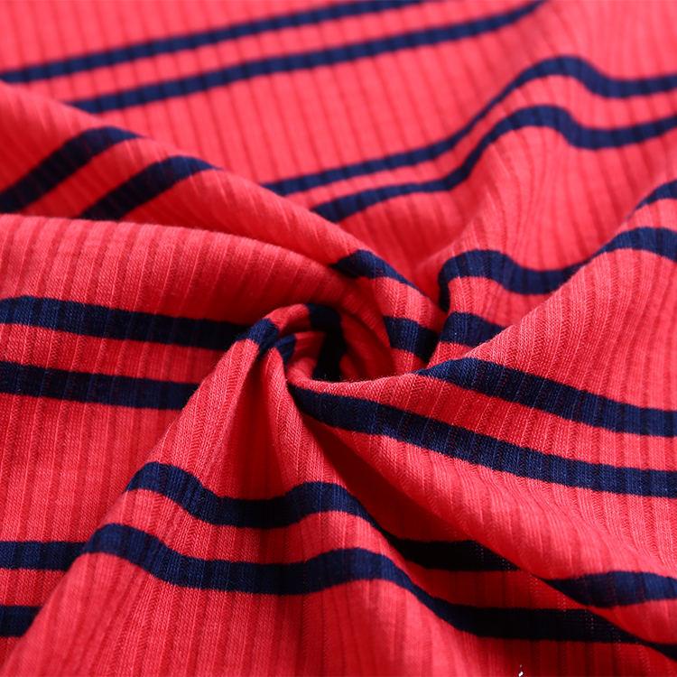 Raya Rojo Negro costilla de punto tejido de poliéster material de impresión sobre tela