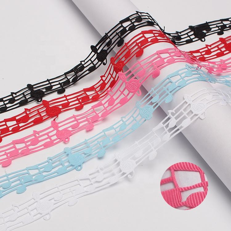 Garment Accessories DIY Decorative Music Hollow Lace Trim Music Cut Out Wired Ribbon
