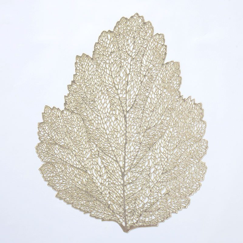 Popular modern leaf style vinyl placemat factory selling gold unique design top quality hotel usage