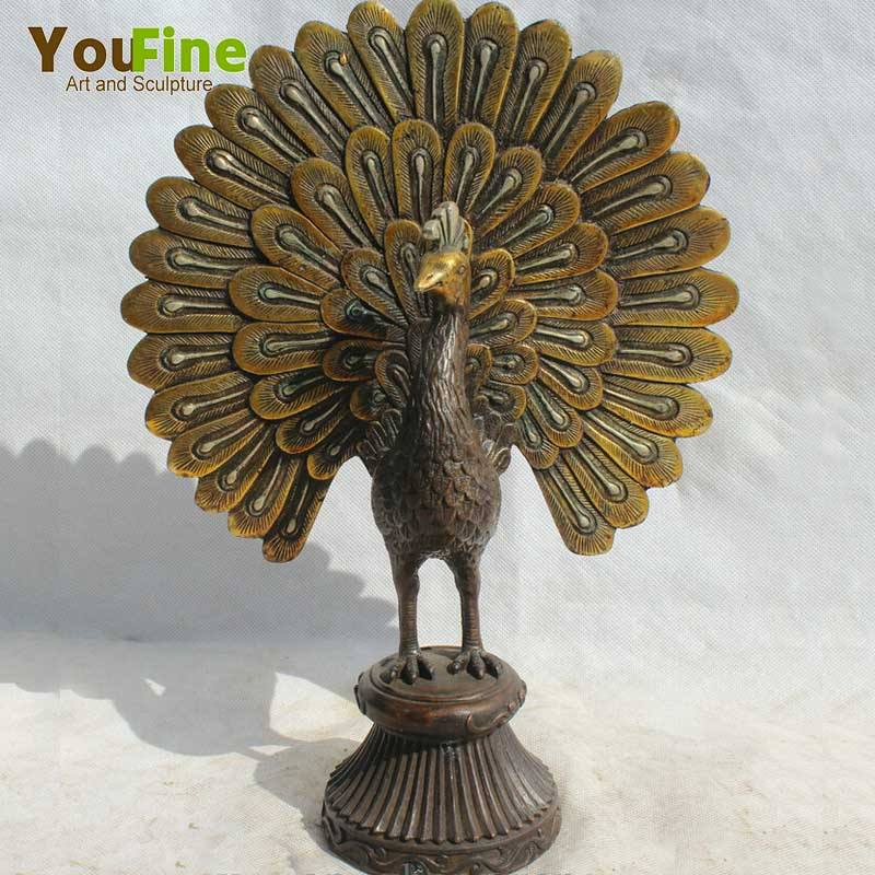 Beautiful Metal Bronze Peacock Sculpture For Sale