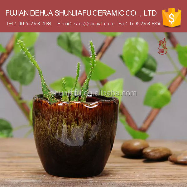 Round shape ceramic glazed flower pots vietnam