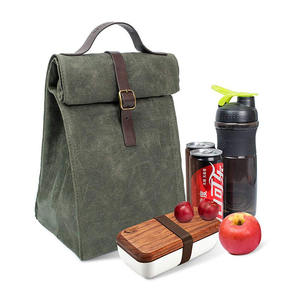 High End Custom Design Outdoor 16oz Heavy Waxed Canvas Waterproof Cooler Box Insulated Lunch Tote Bag