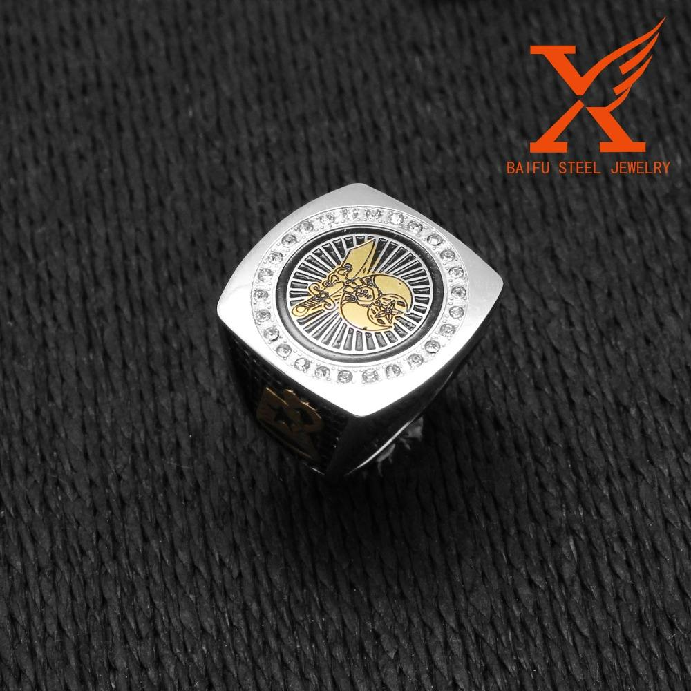 In Stock Men's Custom Made Men's Two Tone Silver 18k Gold Plated Stainless Steel Freemason Masonic Shriner Ring