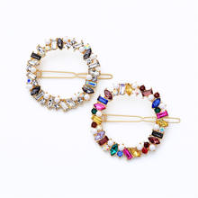 AB-ts00230 /TRACYSGER /lovely girl dazzling Pearl geometry colored crystal circle hair clip
