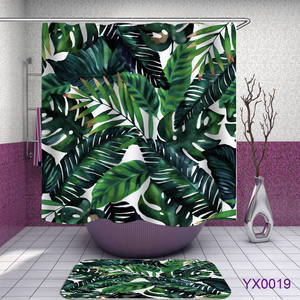 RTS Hijau Pola Daun Polyester Shower Tirai Siap Pakai Grosir Shower Curtains180 * 180 Cm