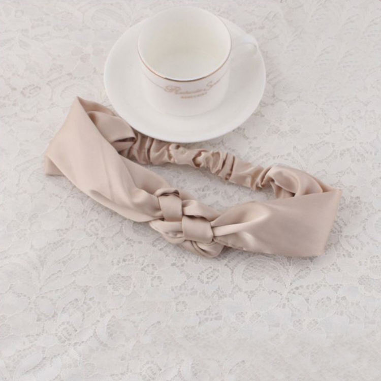 Yoga custom satin silk fabric knot twist head wrap elastic turban headband for women