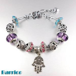 New products 2017 large hole murano charm crystal beads bracelet jewelry