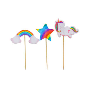 24pcs Cake picks Kids birthday party paper decoration Unicorn cartoon theme signs Children's Day Star Rainbow Fruit Toppers