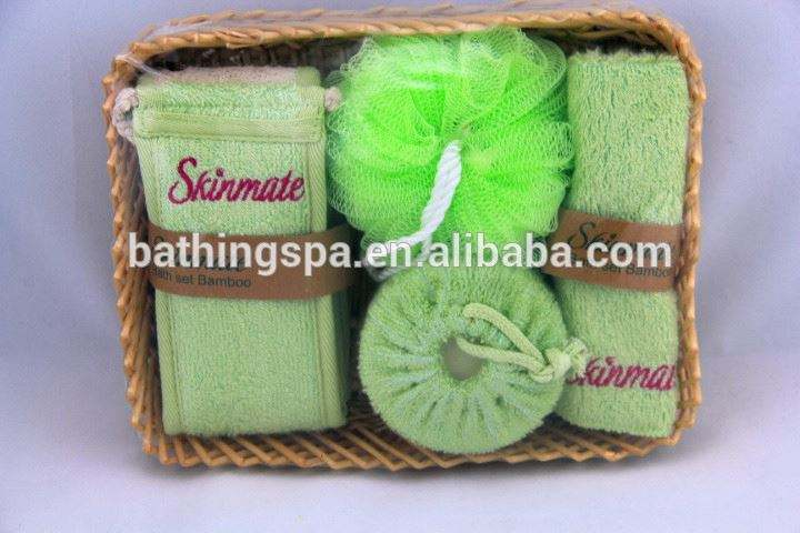 Hot selling bamboo bath set