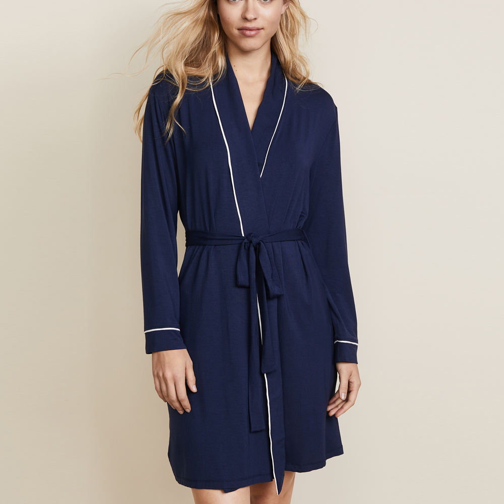 Classic Design Robe Navy Blue Sleep Wear Plain Cotton Spandex Robe