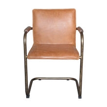 Grain Industrial Brass Color Frame Stitched Leather Lounge Fashion Dining Meeting Room Office Chair