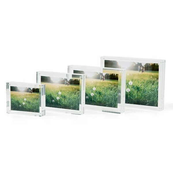 Wholesale Custom High Quality Clear Block Frame Magnet Picture Frame Acrylic Photo Frame 4x6